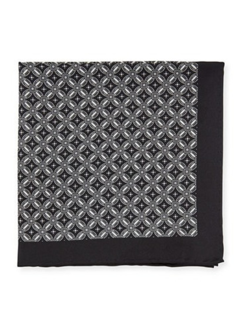 Neiman Marcus Men's Neat Medallion-Print Silk Pocket Square