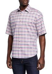 Neiman Marcus Men's Oxford Check Short-Sleeve Sport Shirt