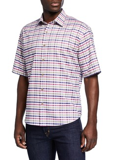 Neiman Marcus Men's Oxford Check Short-Sleeve Sport Shirt