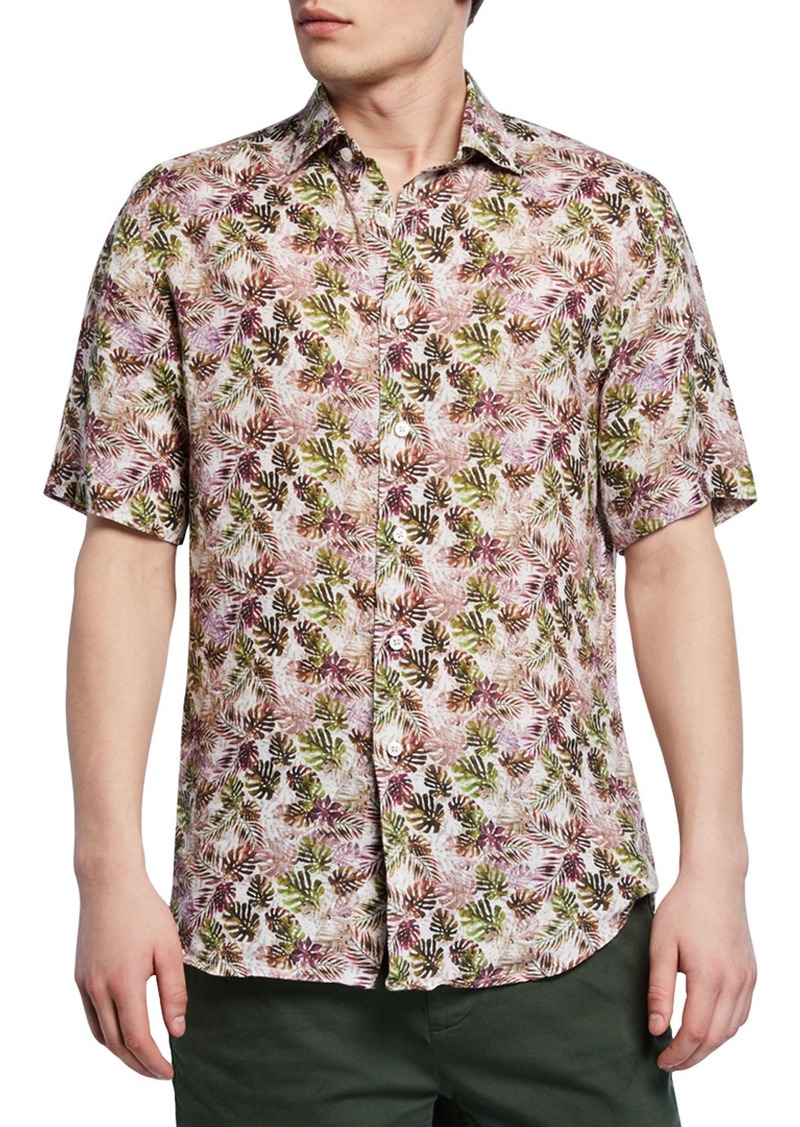 Neiman Marcus Men's Palm Leaf-Print Short-Sleeve Sport Shirt