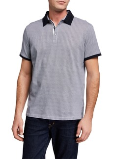 Neiman Marcus Men's Pique Printed Polo Shirt