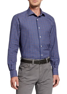 Neiman Marcus Men's Plaid Sport Shirt  Blue/Red/White