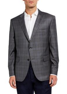 Neiman Marcus Men's Plaid Wool Sports Coat  Gray