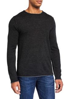 Neiman Marcus Men's Plaited Wool-Blend Crewneck Sweater