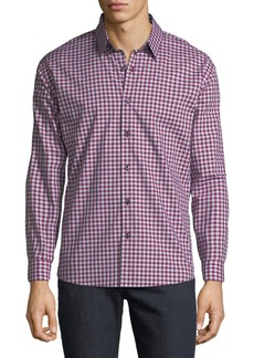 Neiman Marcus Men's Regular-Fit Dobby Check Button-Down Cotton Sport Shirt