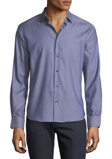 Neiman Marcus Men's Regular-Fit Dobby Texture Solid Sport Shirt