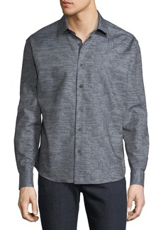 Neiman Marcus Men's Regular-Fit Jacquard Sport Shirt