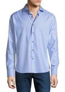 Neiman Marcus Men's Regular-Fit Non-Iron Dobby-Texture Check Sport Shirt  Blue