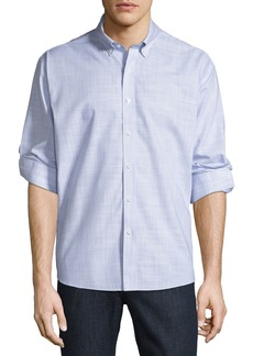 Neiman Marcus Men's Regular Fit Non-Iron Wear It Out Slub Stripe Sport Shirt