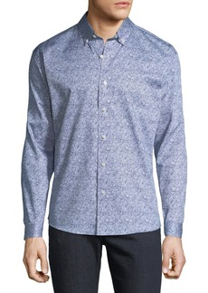 Neiman Marcus Men's Regular-Fit Paisley Button-Down Cotton Sport Shirt