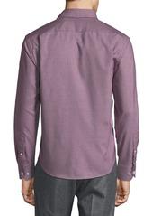 Neiman Marcus Men's Regular-Fit Regular-Finish Dobby Houndstooth Sport Shirt