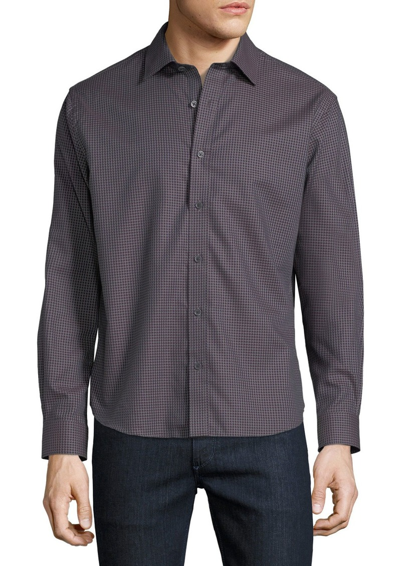 Neiman Marcus Men's Regular-Fit Regular-Finish Large Houndstooth Dobby Sport Shirt