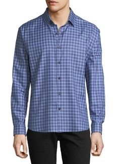 Neiman Marcus Men's Regular-Fit Regular-Finish Twill-Check Sport Shirt  Navy