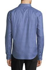 Neiman Marcus Men's Regular-Fit Regular-Finish Twill-Check Sport Shirt  Navy