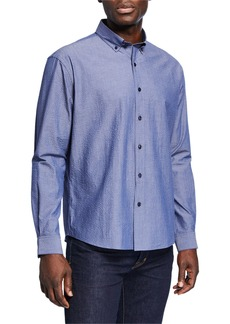 Neiman Marcus Men's Regular-Fit Textured Solid Sport Shirt