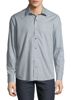 Neiman Marcus Men's Regular-Fit Untuck Heather Check Sport Shirt