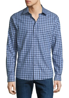 Neiman Marcus Men's Regular-fit Wear-It-Out Heather Check Sport Shirt