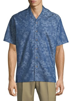 Neiman Marcus Men's Regular-Fit Wear It Out Palm-Jacquard Chambray Short-Sleeve Sport Shirt