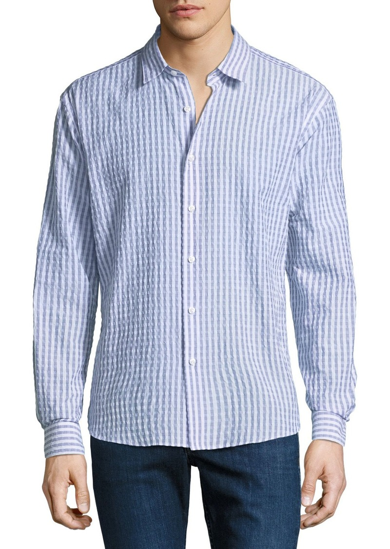 Neiman Marcus Men's Regular-Fit Wear-It-Out Seersucker Check Sport Shirt
