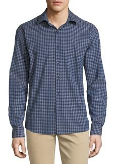Neiman Marcus Men's Regular-Fit Wear-It-Out Slub Check Sport Shirt