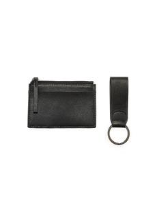 Neiman Marcus Men's Saffiano Leather Card Case & Key Chain