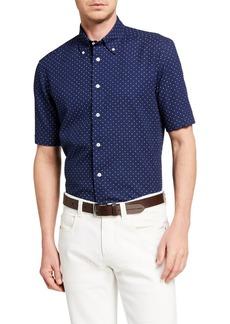 Neiman Marcus Men's Seersucker Polka Dots Sport Shirt
