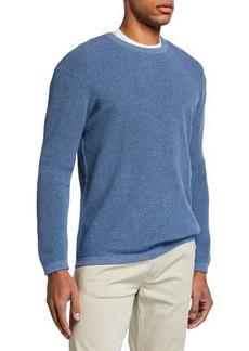 Neiman Marcus Men's Shaker Knit Organic Cotton Crewneck Sweater