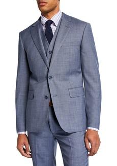 Neiman Marcus Men's Sharkskin Vested Three-Piece Suit