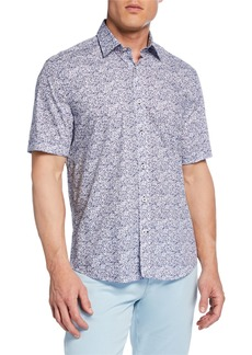 Neiman Marcus Men's Short-Sleeve Abstract-Print Sport Shirt