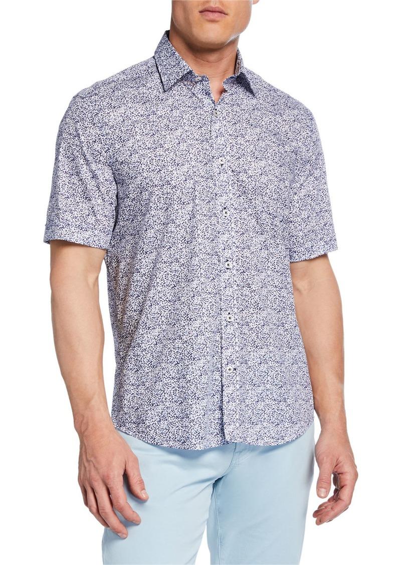 Neiman Marcus Men's Short-Sleeve Abstract-Print Sport Shirt
