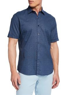 Neiman Marcus Men's Short-Sleeve Floral Linen Sport Shirt