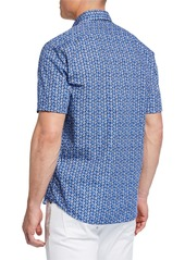 Neiman Marcus Men's Short-Sleeve Floral-Print Sport Shirt