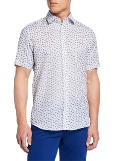 Neiman Marcus Men's Short-Sleeve Leaf-Print Sport Shirt