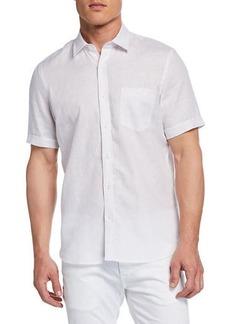 Neiman Marcus Men's Short-Sleeve Linen Chambray Shirt