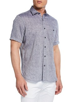 Neiman Marcus Men's Short-Sleeve Linen Chambray Shirt