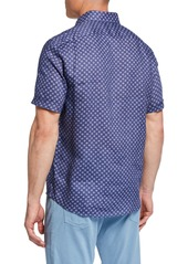 Neiman Marcus Men's Short-Sleeve Mini Floral Linen Sport Shirt