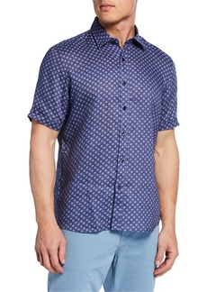 Neiman Marcus Men's Short-Sleeve Mini Floral Linen Sport Shirt
