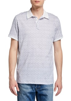 Neiman Marcus Men's Short-Sleeve Pattern Polo Shirt