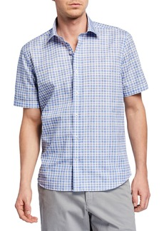 Neiman Marcus Men's Short-Sleeve Plaid Sport Shirt
