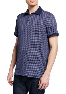 Neiman Marcus Men's Short-Sleeve Printed Polo Shirt