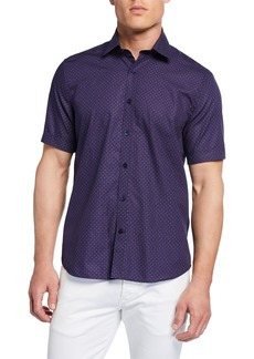 Neiman Marcus Men's Short-Sleeve Printed Sport Shirt