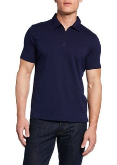 Neiman Marcus Men's Short-Sleeve Zip-Front Polo
