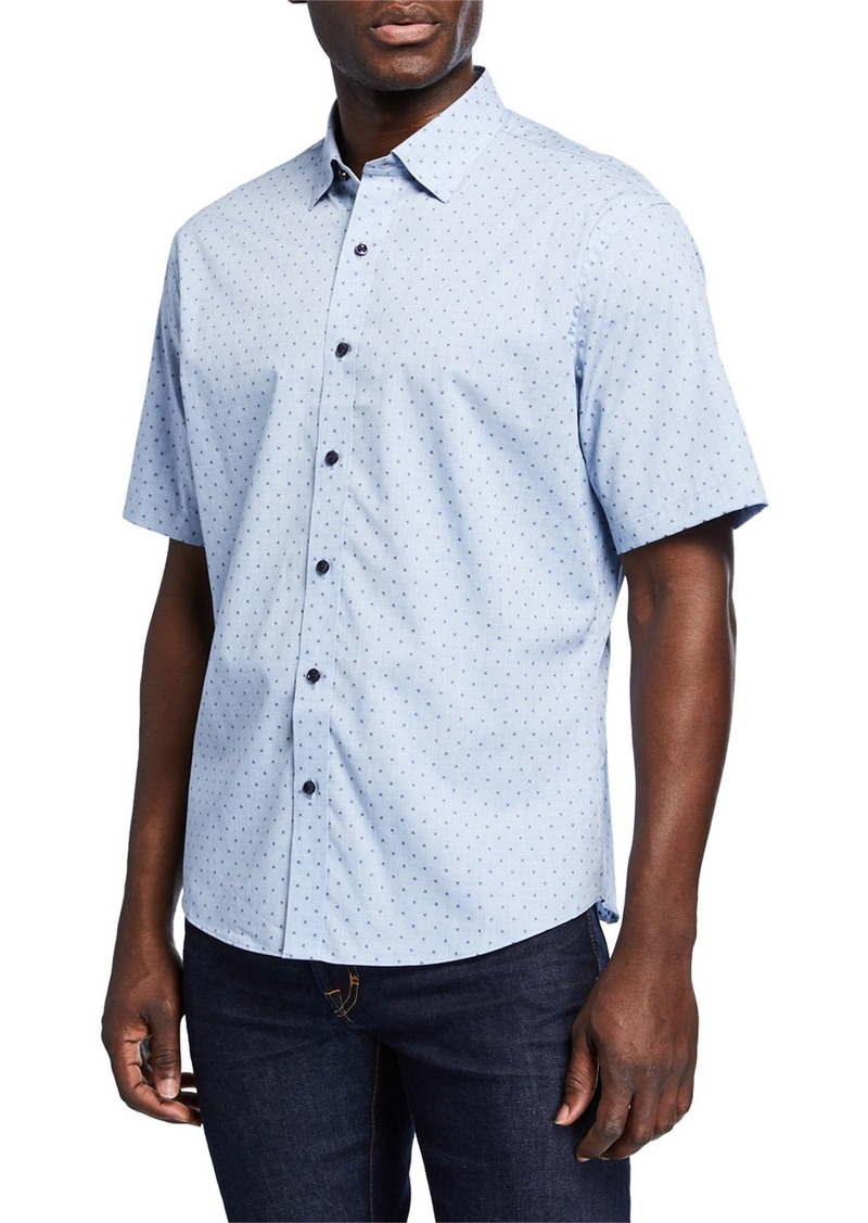 Neiman Marcus Men's Slim-Fit Clip Heather Short-Sleeve Sport Shirt