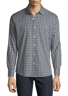 Neiman Marcus Men's Slim-Fit Dobby Check Button-Down Sport Shirt
