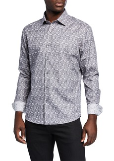 Neiman Marcus Men's Slim-Fit Floral Jacquard Long-Sleeve Sport Shirt