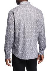 Neiman Marcus Men's Slim-Fit Floral Jacquard Long-Sleeve Sport Shirt