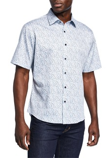 Neiman Marcus Men's Slim-Fit Floral Print Short-Sleeve Sport Shirt
