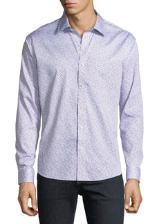 Neiman Marcus Men's Slim-Fit Floral-Print Sport Shirt