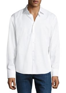 Neiman Marcus Men's Slim-Fit Non-Iron Dobby-Textured Solid Sport Shirt  White