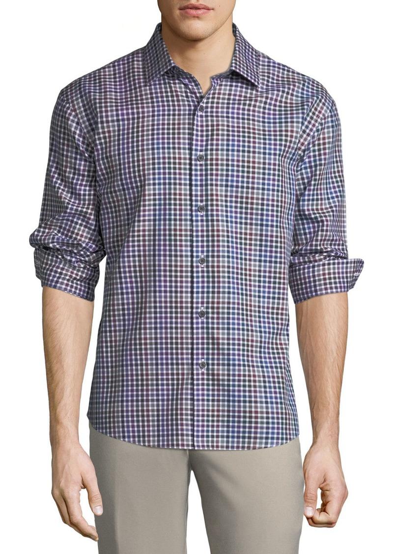 Neiman Marcus Men's Slim Fit Non-Iron Wear It Out Herringbone Check Sport Shirt